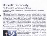 Domestic Dishonesty Article Clipping