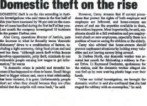 Domestic Theft On The Rise Article Clipping