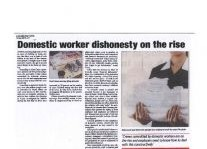 Domestic Worker Dishonesty On The Rise Article Clipping