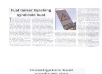Fuel Tanker Hijacking Syndicate Bust Article Clipping