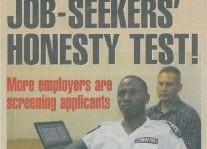 Job Seekers Honesty Test Article Headline Clipping