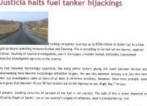 Justicia Halts Fuel Tanker Hijackings Article Clipping