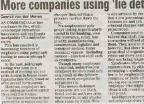 More Companies Using Lie Detectors Article Clipping
