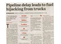 Pipeline Delay Leads To Fuel Hijacking From Trucks Article Clipping