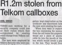 R1.2m Stolen From Telkom Callboxes Article Clipping