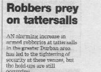 Robbers Prey On Tattersalls Article Clipping