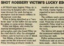 Shot Robbery Victim's Lucky Escape Article Clipping