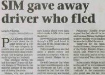 SIM Gave Away Driver Who Fled Article Clipping